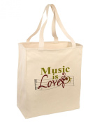 TooLoud Music Is Love Large Grocery Tote Bag-Natural