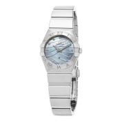 Omega Women's 123.10.24.60.17mConstellation' Blue Mother of Pearl Diamond Dial Stainless Steel Quartz Watch