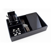 Caddy Bay Collection Black Desktop Dresser Valet Tray Case Holds Watches, Rings, Jewellery, Keys, Cell Phones and Accessories