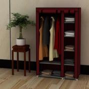 100cm Portable Home Wardrobe Storage Closet Organiser Rack with Shelves Claret