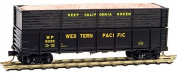 Micro Trains N Scale 12m Drop Bottom Gondola with Wood Chip Load, Western Pacific #5035