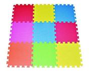 POCO DIVO Floor Mat 9-tile Multi-Colour Exercise Mat Solid Foam EVA Playmat Kids Safety
