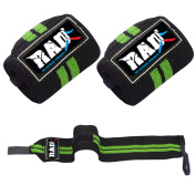 RAD Weight Lifting Training Wraps Wrist Support Gym Fitness 30cm Bandage Strap Green And Black