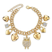 Long Way Summer Style Gold Bracelets for Women Fashion Crystal Owl Love Pendant Charm Bracelets Bangles Friendship Jewellery
