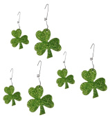 Green Glitter Shamrock Ornaments Metal and Glitter Boxed Set of 6