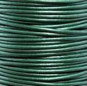 "#66 Metallic Ocean Green Round Leather Cord 0.5mm (1/64"") x 10 m"
