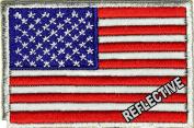 REFLECTIVE US AMERICAN FLAG Patch Embroidered Tactical Morale Police Vest Jacket Emblem