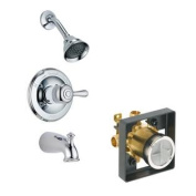 Delta Delta KTSDLE-T14478H778-CH Leland Tub/Shower Kit Pressure-Balance Single-Function Cartridge with Metal Lever Handl