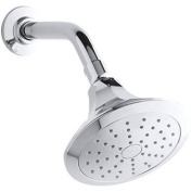 KOHLER 45409-CP Memoirs Classic Single Function Wall Mount Showerhead with Katalyst Air Induction Spray, 2.0 GPM, Polish