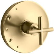 KOHLER K-T14423-3-BGD Purist Rite-Temp Valve Trim with Cross Handle, Valve Not Included, Vibrant Moderne Brushed Gold