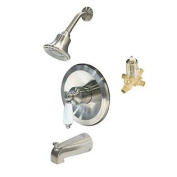 Aqueous KTS-604010BN Shower Kit with Trim, Antique Showerhead, Tub Spout and Diverter, and Rough-in Valve, Brushed Nicke