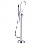 LaCascata Gooseneck Freestanding Modern Tub Faucet, Chrome with Hand Shower