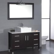 "120cm Espresso Oak Wood & Porcelain Cingle Vessel Sink Bathroom Vanity Set with Chrome Faucet- ""Randolph"""