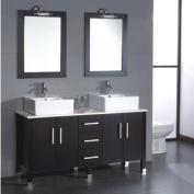 "180cm Espresso Oak wood & Porcelain Double Vessel Sink Bathroom Vanity with Brushed Nickel Faucets- ""Pulaski"""