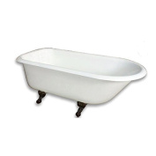 "140cm Cast Iron Freestanding Bathtub Rolled Rim with 8.6cm Wall Holes & Oil Rubbed Bronze Feet-""Carroll"""