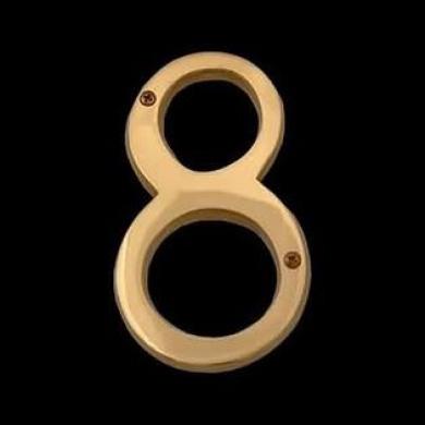 Bright Solid Brass 15cm Address House Number '2.4m | Renovator's Supply