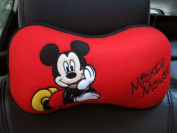 Mickey Mouse 1 Piece Car Neck Rest Cushion Head Pillow Red,black Disney Licenced