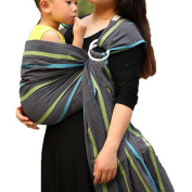 Vlokup Baby Ring Sling Carrier for Newborn Original Adjustable Infant Lightly Padded Wrap Breastfeeding Privacy 100% Cotton Grey Rainbow