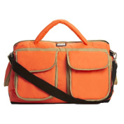 7 A.M. ENFANT Voyage Nappy Bag, Neon Orange/Beige, Small