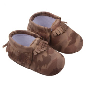 Sunward Baby Camouflage Tassel Soft Sole Anti-slip Leather Shoes Infant Moccasin