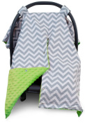 Premium Carseat Canopy Cover with Peekaboo Opening- Large Chevron Print with Lime Green Minky | Best for Infant Car Seat, Boy or Girl | All Weather | Universal Fit | Baby Shower Gift | Newborn Decor