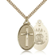 Gold Filled Cross / Army Pendant Necklace Necklace For Men - Medal Size:1 1/4 x 5/8 - Curb Chain 60cm - 30 Day Money Back Guaran