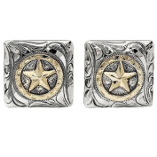 Western Cufflinks Mens Square Star Disc Silver Gold 028-327