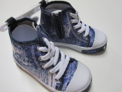 MaxiMo Baby Step Shoes, Kids Shoes, Ankle Boots, Side Zip, Stone/Navy, Size 24