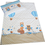 Babies-Island A 2 Piece Bedding Set Pillowcase+Duvet Cover For Baby Toddler To Fit Cot/Cot Bed - BLUE OWLS WITH SQUIRREL