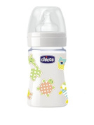 CHICCO BABY NATURE GLASS SILICONE FEEDING BOTTLE 150ml
