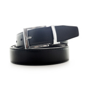 Faddism Men's Leather Reversible Silvertone Buckle Belt