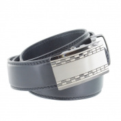Faddism Men's Black Genuine Leather Belt with Cheque Gun Metal Buckle