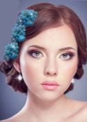 12 Wedding Flowers. Crystals Flower Turquoise. 3 packs x 4 pcs. Each irisees .  Heart Crystals Comb Attachment Clip.