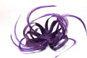 Ladies Purple Hessian Fascinator with Sinamay Loops and Feather Tendrils