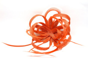 Ladies Coral Red Hessian Fascinator with Sinamay Loops and Feather Tendrils