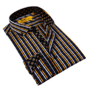 Brio Milano Men's Navy and Yellow Striped Button-down Shirt