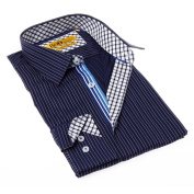 Brio Milano Men's Contemporary Fit Blue and White Stripe Button-up Dress Shirt