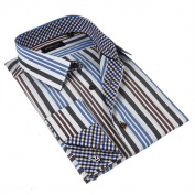 Domani Blue Luxe Men's Multicoloured Button-down Dress Shirt