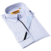 Brio Milano Men's Contemporary Fit Blue/ Black Cheque Button-up Dress Shirt