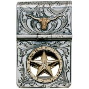 Western Mens Money Clip Hinge Longhorn Star Silver 021-086