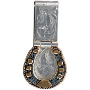 Western Mens Money Clip Horseshoe Engraved Cam Silver 021-046
