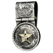 Western Mens Money Clip Embossed Concho Star Silver 021-324