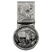 Western Mens Money Clip Engraved Bison Sterling Silver 021-364