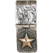 Western Mens Money Clip Gold Star Hinged Cam Silver 021-037