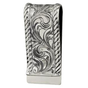 Western Mens Money Clip Embossed Engraved Sterling Silver 021-007