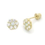 14K Gold Stud Screwback Earring CZ Cluster Flower Yellow Gold Earring with Screw Back