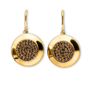 Crystal Cluster Gold Over Bronze Round Drop Earrings