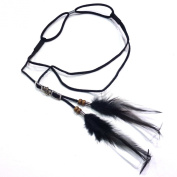 rougecaramel - Headband Top Women Hippie Boho Feather and Faux Leather - Black