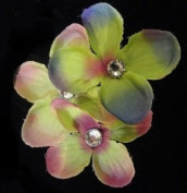 9 Flowers Bridal. Crystal Green and Pink. (3 Packs of X 3 Flowers Each Flower irisees. Heart Crystals. Comb Clip Attachment