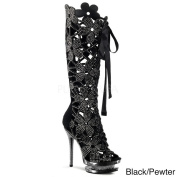 Pleaser Day & Night Women's 'Fantasia-620m Flower Cut-out Knee-high Boots